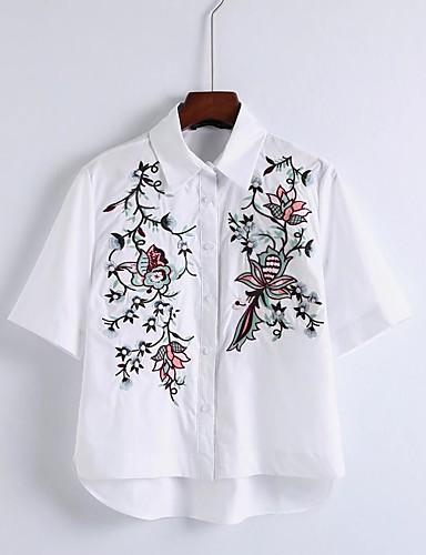 Dámské Květinový Výšivka Jdeme ven Běžné/Denní Jednoduchý Sexy Šik ven Košile-Léto Bavlna Košilový límec Tenké Střední