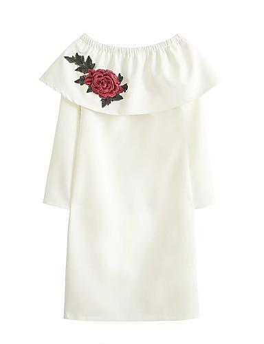 Dámské Jednoduché Šik ven Jdeme ven Běžné/Denní Volné Shift Košile Šaty Květinový Výšivka,Dlouhý rukáv Úzký výstřih Nad kolena Hedvábí