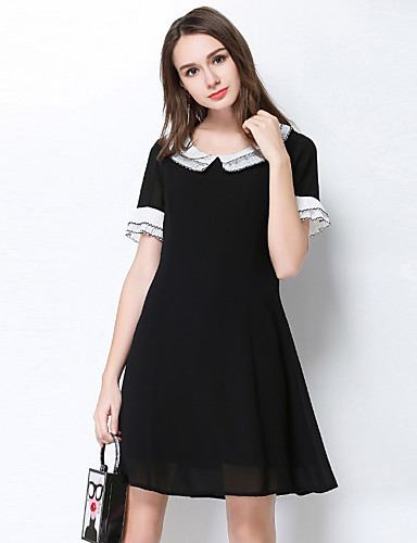 Damen A-Linie Kleid Solide Rundhalsausschnitt Knielang Polyester Frühling Sommer Hohe Hüfthöhe Mikro-elastisch Dünn