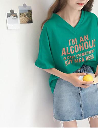 Damen Solide Buchstabe Einfach Lässig/Alltäglich T-shirt,V-Ausschnitt Kurzarm Baumwolle