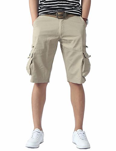 Pánské Jednoduchý Není elastické Rovné Kraťasy Kalhoty Volný Rovné Mid Rise Jednobarevné