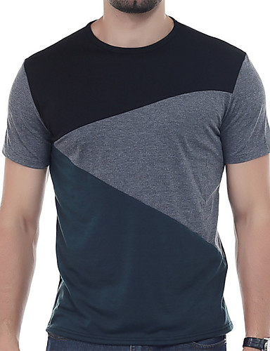 Miehet Lyhythihainen Pyöreä Villasekoite Yksinkertainen Aktiivinen Päivittäin Kausaliteetti T-paita,Yhtenäinen Patchwork