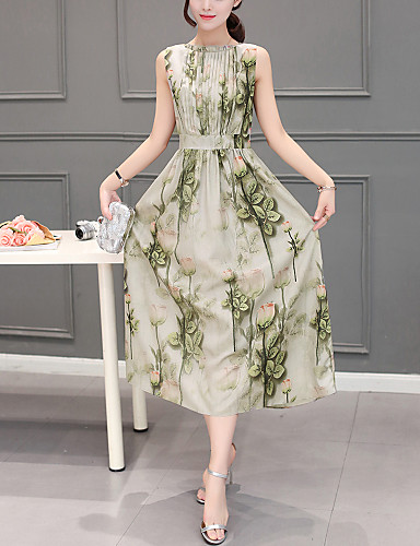 Damen Chiffon Swing Kleid Boho Druck Rundhalsausschnitt Midi Ärmellos Polyester Sommer Mittlere Hüfthöhe Unelastisch Dünn