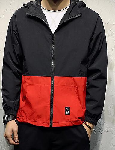 Herren Solide Einfach Lässig/Alltäglich Jacke,Mit Kapuze Frühling Lange Ärmel Standard Polyester