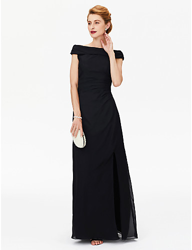 Sheath / Column Off Shoulder Floor Length Chiffon Mother of the Bride Dress with Split Front / Pleats by LAN TING BRIDE®