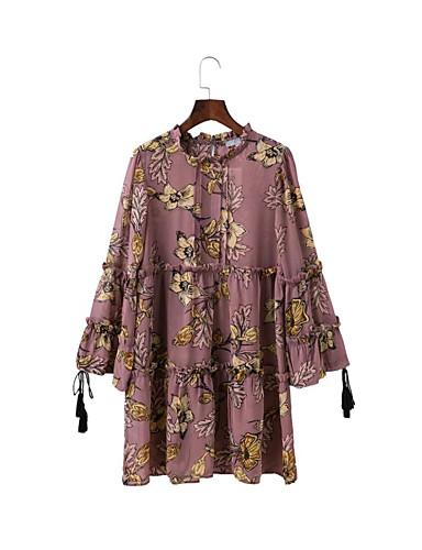 Damen Lose Etuikleid Kleid-Ausgehen Lässig/Alltäglich Einfach Street Schick Blumen Rundhalsausschnitt Übers Knie Langarm Seide Baumwolle