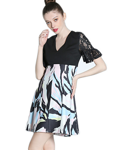 Damen A-Linie Kleid Einfach Solide Druck V-Ausschnitt Übers Knie Kurzarm Baumwolle Polyester Elasthan Sommer Hohe Hüfthöhe Mikro-elastisch