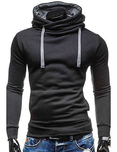 Men's Sports Contemporary / Active Long Sleeve Slim Hoodie - Solid Colored Hooded