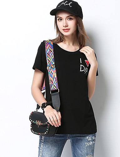 Damen Solide Einfach Normal T-shirt,Rundhalsausschnitt Kurzarm Acryl