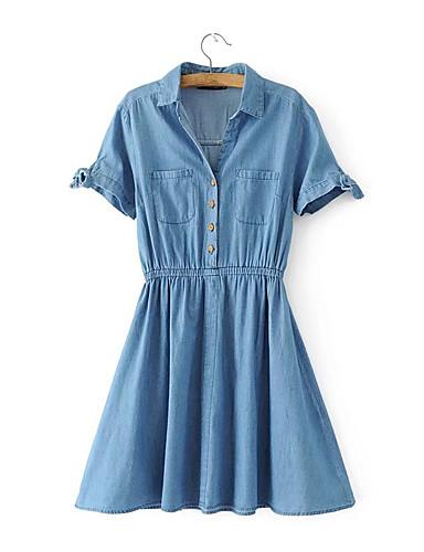 Damen Lose Etuikleid Kleid-Ausgehen Lässig/Alltäglich Einfach Street Schick Solide Hemdkragen Übers Knie Kurzarm Seide Baumwolle Sommer