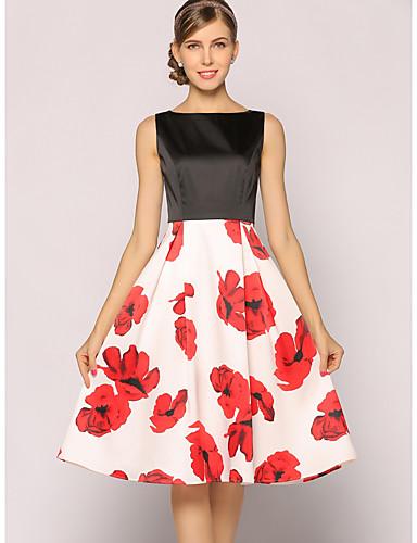 Mulheres Evasê balanço Vestido Floral Cintura Alta