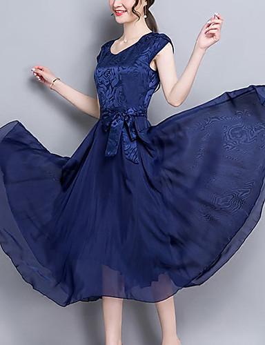 أزرق ميدي مرتفع سادة - فستان متأرج قياس كبير معقد ذهاب للخارج للمرأة
