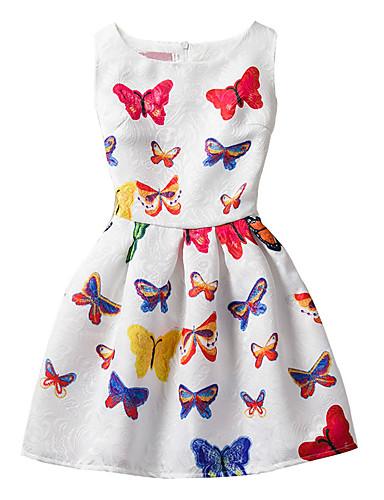 Dívka je Bavlna Geometrický Módní Léto Šaty, Bez rukávů Květinový Mašle Bílá