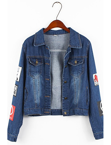 Women's Casual Plus Size Cotton Denim Jacket - Solid Colored Shirt Collar / Spring / Puff Sleeve