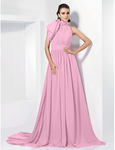 preiswerte Abendkleider-A-Linie Stehkragen Hof Schleppe Chiffon Vintage Inspirationen Formeller Abend Kleid mit Schleife(n) / Plissee durch TS Couture®