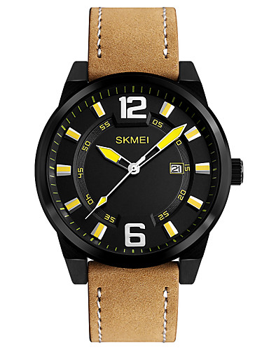 SKMEI Men's Wrist Watch Japanese Calendar / date / day / Water Resistant / Water Proof / Cool Leather Band Casual / Fashion / Dress Watch Brown