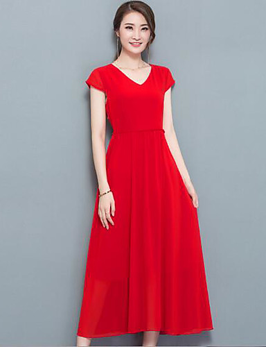 Women's Simple A Line Dress - Solid Colored High Rise V Neck / Summer