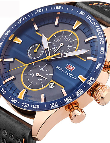 Men's Wrist Watch Water Resistant / Water Proof Calendar / date / day Creative Genuine Leather Band Analog Charm Luxury Casual Black - White Red Blue Two Years Battery Life / Stainless Steel