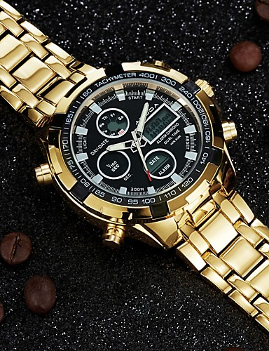 Men's Fashion Watch Wrist watch Casual Watch Chinese Quartz Calendar / date / day / Large Dial Dual Time Zones Luminous Stainless Steel