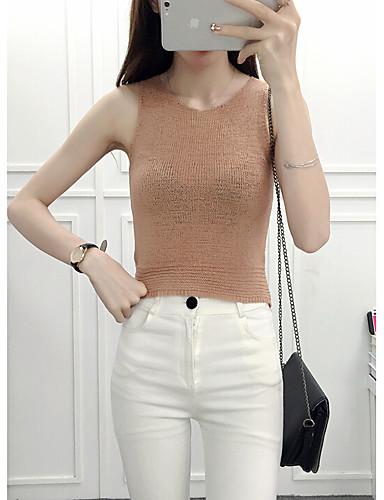 Women's Daily Short Vest,Solid Round Neck Sleeveless Wool Summer 15D Inelastic