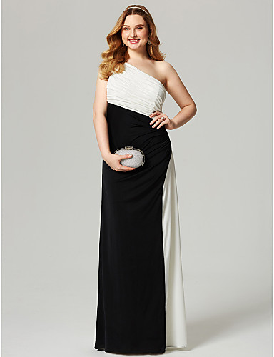 Sheath / Column One Shoulder Floor Length Jersey Plus Size Formal Evening Dress by TS Couture®