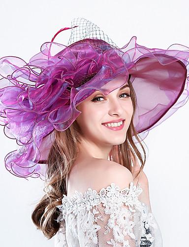 billige Hatte & Imponeringer-Fjær / Silke / organza Kentucky Derby Hat / fascinators / Hatter med Blomster 1pc Bryllup / Spesiell Leilighet / Fest / aften Hodeplagg