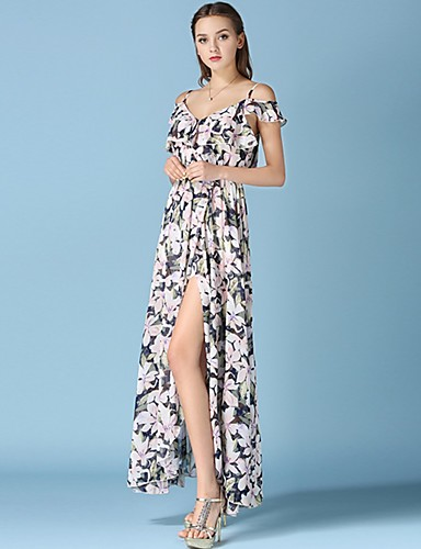 Women's Street chic Puff Sleeve Loose Dress - Floral, Backless Maxi V Neck