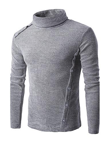 Normal Pullover Fritid/hverdag Herre,Ensfarget Høy krage Langermet Polyester Vinter Medium Mikroelastisk