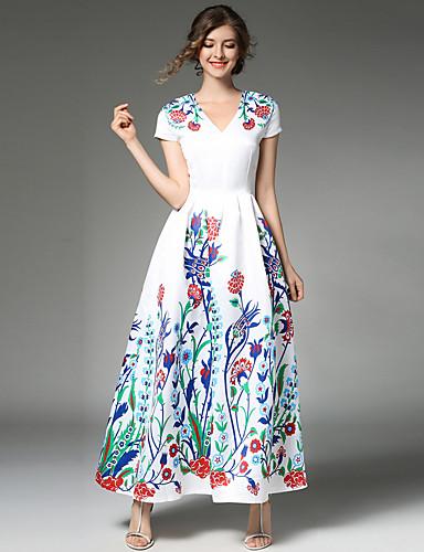 abordables Robes Femme-Femme Fleur Sortie Rétro / Chic de Rue / Sophistiqué Maxi Trapèze Robe Mosaïque Col en V Blanc L XL XXL Manches Courtes