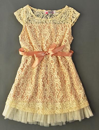 Mädchen Kleid einfarbig Baumwolle Sommer Kurzarm