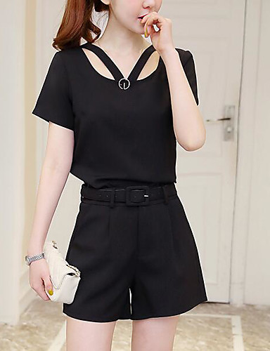 Women's Daily Modern/Contemporary Summer T-shirt Pant Suits,Solid Asymmetrical Short Sleeve 100% Cotton