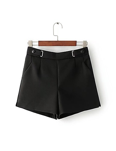 Women's Mid Rise strenchy Loose Shorts Pants,Street chic Relaxed Pure Color Solid