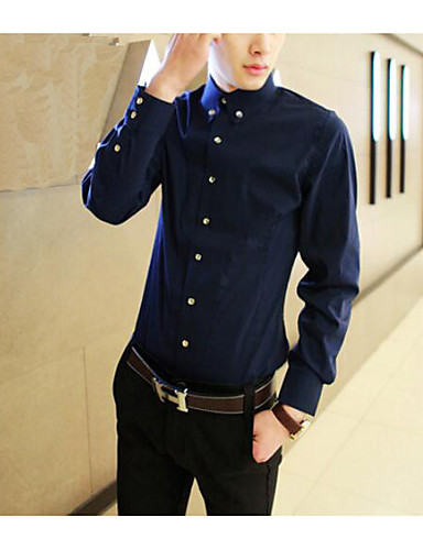 Polyester Medium Langermet,Skjortekrage Skjorte Ensfarget Alle sesonger Enkel Daglig Avslappet Herre