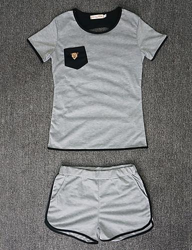 Mulheres Camiseta Retalhos Calça