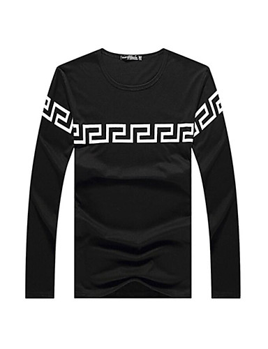 Herren Geometrisch Chinoiserie Lässig/Alltäglich T-shirt,Rundhalsausschnitt Frühling Herbst Langarm Polyester Mittel