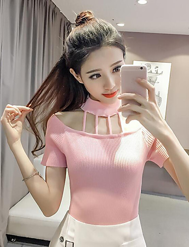 Women's Short Sleeves Cotton Pullover - Solid Colored