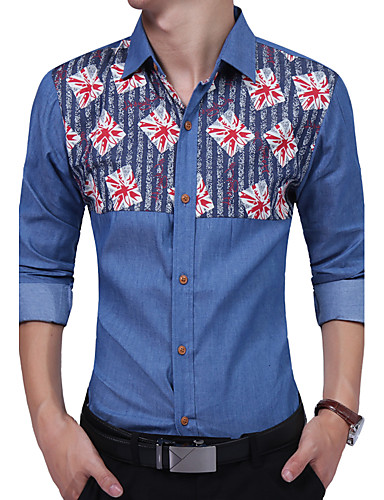 Men's Daily Work Plus Size Casual All Seasons Shirt,Floral Color Block Shirt Collar Long Sleeves Cotton Rayon Thin