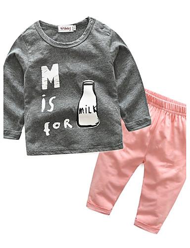 Baby Kinder Kleidungs Set Baumwolle Lässig/Alltäglich Ausgehen Festtage Cartoon Design 100% Baumwolle Herbst Frühling Langarm Zeichentrick