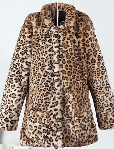 Women's Simple Casual Faux Fur Fur Coat-Leopard Stand