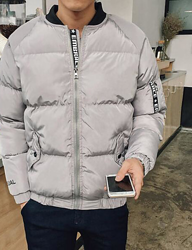 Men's Padded Coat,Simple Casual/Daily Solid-Polyester Polyester Long Sleeves
