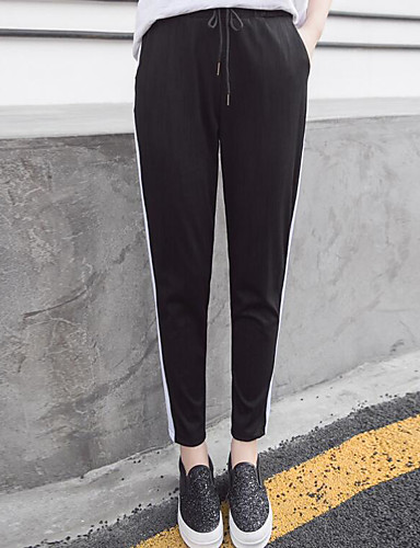 Women's Mid Rise Micro-elastic Skinny Pants,Simple Slim Striped