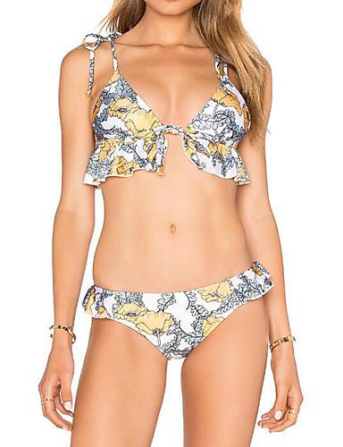 Dame Bikinikjole Blomstret Bandeau Trykt mønster