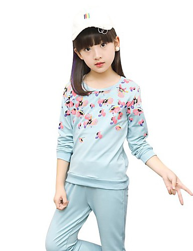 Girls' Floral Clothing Set,Cotton Spring Fall Long Sleeve Floral Blushing Pink Light Green