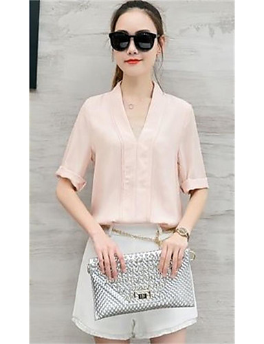 Women's Daily Casual Contemporary Casual Summer Shirt Pant Suits,Solid Deep V 1/2 Length Sleeve Others High Elasticity