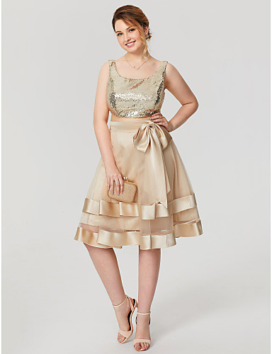 Two Piece Scoop Neck Knee Length Tulle / Sequined Cocktail Party / Homecoming / Prom / Holiday Dress with Bow(s) / Tiered by TS Couture®