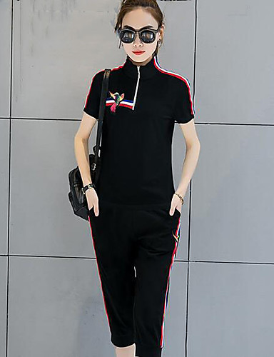 Women's Daily Casual Casual Summer T-shirt Pant Suits,Striped Floral Stand Short Sleeve Cotton/nylon with a hint of stretch Micro-elastic