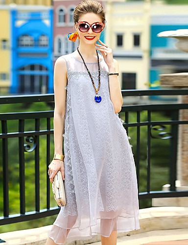Women's Going out Cute Sheath Dress,Solid Round Neck Knee-length Sleeveless Polyester Summer Mid Rise Micro-elastic Medium