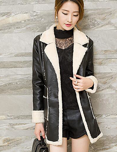 Women's Daily Modern/Contemporary Winter Fall Trench Coat,Solid Shirt Collar Long Sleeve Long Others