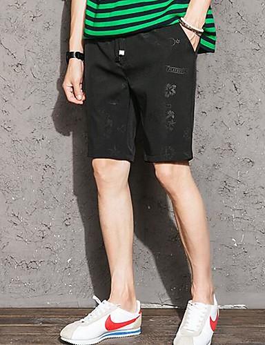 Herre Enkel Aktiv Mikroelastisk Rett Chinos Shorts Bukser,Rett Chinos Shorts Mellomhøyt liv Trykt mønster