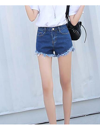 Women's High Rise Micro-elastic Jeans Shorts Pants,Simple Straight Solid
